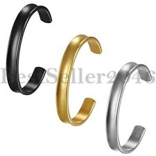 10MM Fashion Womens Mens Stainless Steel Plain Finish Cuff Bangle Bracelet Gift