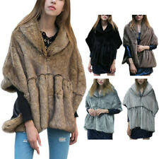 Womens Faux Mink Fur Poncho Hooded Stole Cape Scarf Shawl Wrap Fur Caplet Coat