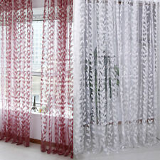 1PCS New Sheer Leaf Printed Door Window Curtain Tulle Scarf Drape Voile Valances