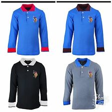 Boys US Polo USPA Motif Long Sleeve Cotton Polo Shirt Collared Top 3 to 12 Years
