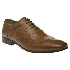 New Mens Base London Tan Court Leather Shoes Brogue Lace Up