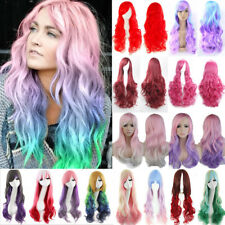 Fashion 80Cm Long Curly Straight Cosplay Wig Real Heat Resistant Synthetic Hair