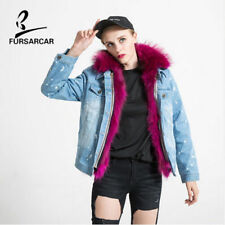Women Print Loose Denim Fur Lining Jean Raccoon Jacket Coat Trench Outwear C0315