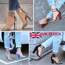 Womens Ladies Block Thick High Heels Chunky Ankle Buckle Sandals Party Shoes 2-7