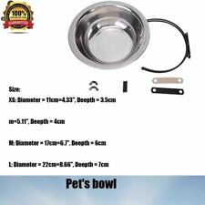 Dog Cats Birds Stainless Bolt On Pet Bowl Food OR Water Dish Kennel Cage Steel