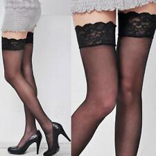 Sheer Thigh High Stockings Hosiery Silicone Stay Up Lace Top