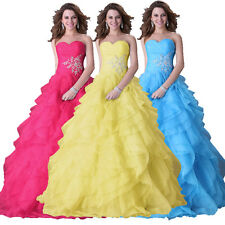 Women Formal Prom Party Pageant Ball Wedding Bridal Gown Ruffles Dress 3 Colors