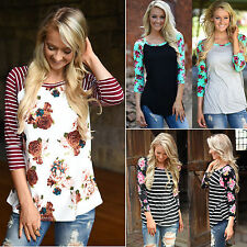 Women Fashion Splice Floral Blouse Long Sleeve T Shirt Tops Vintage Casual Tees