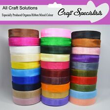 WOVEN EDGE ORGANZA RIBBON - 7mm & 15mm CHOOSE FROM 25 & 50 YARDS - 30 COLOURS