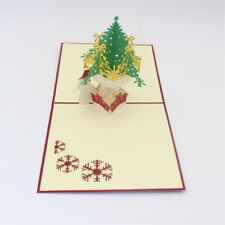 Greeting Card Handmade Gift Paper Cutting Snowman Christmas Tree Blessings-NEW