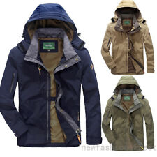 Mens Zip Button Hooded Military Slim Fit Collar Jacket Long Coat Outwear Fashion