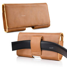 GENUINE Leather Holster Belt Clip Carrying Case Pouch For Iphone Samsung LG HTC
