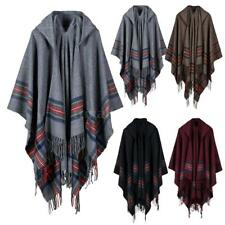 Women Poncho Hooded Jacket Boho Tribal Tassel Scarf Shawl Coat Cape Wrap W0M4