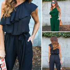One Shoulder Women's  New Long Trousers Chiffon Ruffled Rompers Jumpsuit