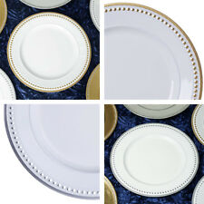 "ROUND CHARGER PLATES 6 pcs 13"" BEADED RIM Wedding Party Dinner TABLEWARE SALE"