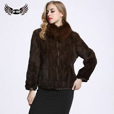 Real Women's Genuine Knitted Mink Fur Coat  Big Fox Fur Collar Jacket Zipper UK