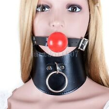 PU Leather Mouth Gag Neck Posture Collar Harness Restraint corset gothic cosplay
