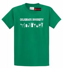 Celebrate Diversity Funny T Shirt Alcohol Party Martini Beer Graphic Tee Shirt