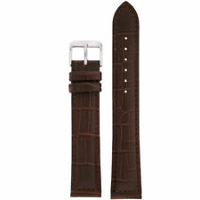 Extra Long Watch Band Dark Brown Genuine Leather Strap Alligator Grain BND1485