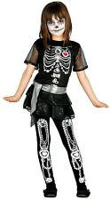Girls Diamond Skeleton Sparkly Halloween Fancy Dress Costume Outfit 5-12 Years
