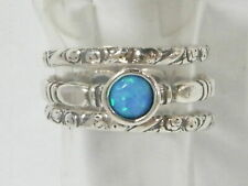 Modern Fine Sterling Silver 925 Ring Stackable Blue simulated opal