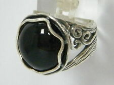 NEW Black Onyx Fine 925 Sterling Silver Shablool Ring cocktail For Women
