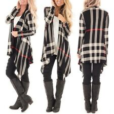 Womens Open Front Plaid Soft Draped Long Sleeve Rayon Waterfall Cardigan Outwear
