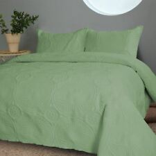 Twin Full Queen Cal King Size Bed Solid Green 3 pc Quilt Set Coverlet Bedspread