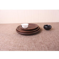 Chic Wooden Tea Serving Tray Japanese Round Plate Dried Fruit Home Trinket