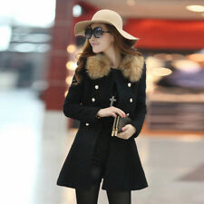 Women Slim Fit Coat Jacket Double Breasted Trench Wool Fur Collar Outerwear Warm