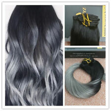 """100% Brazilian Clip in Human Hair Extension Ombre Grey 16""""-24"""" 7pcs/100g"""