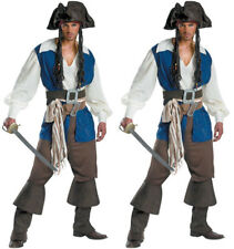 Captain Jack Sparrow Costume Adult  Deluxe Pirate Halloween Fancy Dress Party