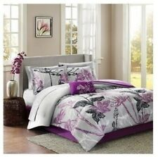 Twin Full Queen Cal King Bed Gray Black Purple Floral 9 pc Comforter Sheet Set
