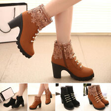 Womens Girls Ankle Boots Increase High Heel Booties Martin Casual Shoes US Size