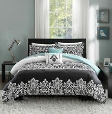 Twin XL Full Queen Bed Teal Blue Black White Damask 5 pc Comforter Set Bedding