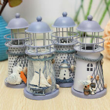 Mediterranean Iron Light House Candlestick Holders Tealight Party Hanging Decor