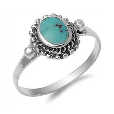 Women 11mm 925 Sterling Silver Simulated Turquoise Vintage Antique Ring Band