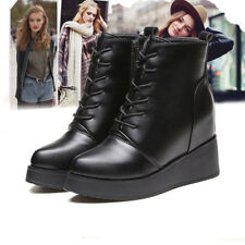 Fashion Women Ankle Boots Shoes Wedge Platform Mid Heel Zip Nonslip Pointy