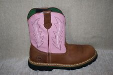 GIRLS YOUTH JOHN DEERE JD2185 PINK&TAN PULL ON BOOTS-SEE SIZES (405)