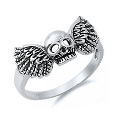 Men's 925 Sterling Silver Oxidized Skull Wing Ring / Free Gift Box Ship from USA