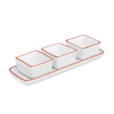 Calisto Square Dishes On Tray, Glazed Terracotta, Set of 3