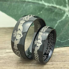 His & Hers Tungsten Rings, Celtic Claddagh Anniversary Rings, Promise Ring