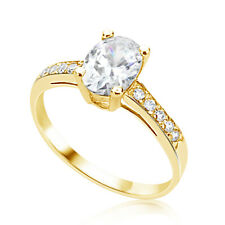 Women 14K Yellow Gold Oval Cubic Zirconia CZ Wedding Engagement Ring Band