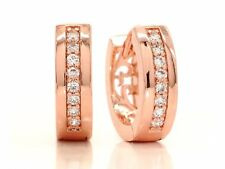 Genuine 18ct rose gold plated small hoop earrings clear white gemstones gift box