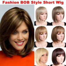 Elegant Daily Party Wig Haircut Short BOB Full Wigs Synthetic Brown Blonde Red c