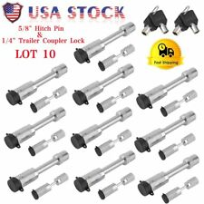 "5/8"" Hitch Pin Locking Trailer Pin Lock &1/4"" Coupler Lock Trailer W/ Key LOT SK"