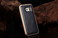 Samsung Galaxy S6 LEATHER-METAL Case Aluminum Cover Armor Hard Luxus