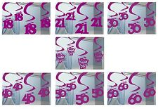 PINK SHIMMER Birthday Age Hanging SWIRL DECORATIONS {Amscan}(Party/Celebration)