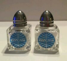 COLLECTIBLE PAN AM AIRLINES SALT AND PEPPER SHAKERS 2 INCH TALL METAL TOPS