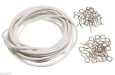Net Curtain Wire Window Cord White Cable + Hooks & Eyes Choose From 500mm - 30M